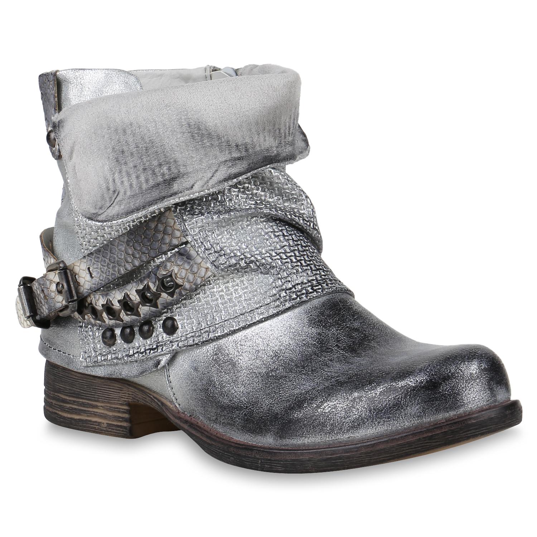 damen biker boots leicht gef tterte stiefeletten metallic. Black Bedroom Furniture Sets. Home Design Ideas