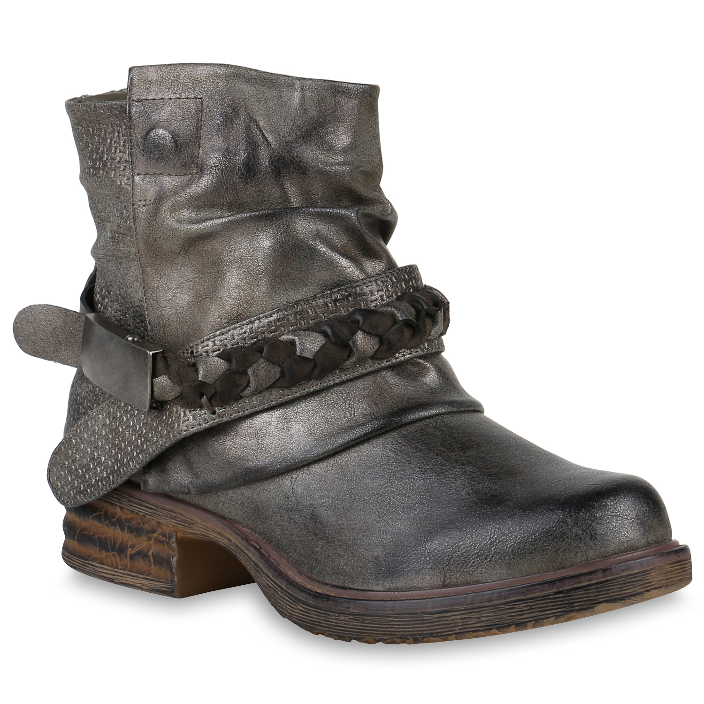 damen biker boots nieten stiefeletten metallic schnallen 811829 schuhe ebay. Black Bedroom Furniture Sets. Home Design Ideas