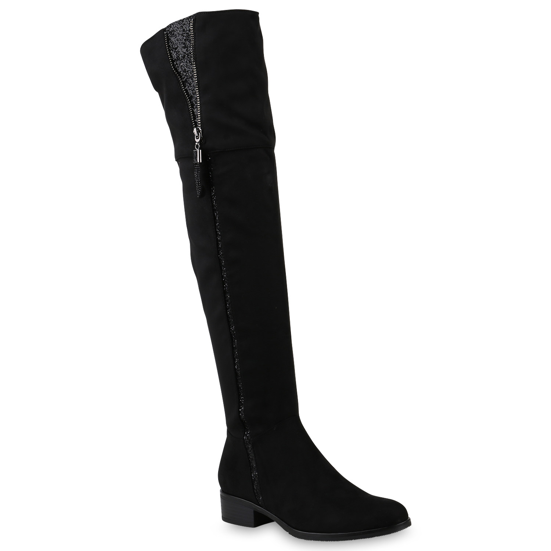 Leicht Gef tterte Damen Overknees Glitzer Stiefel Zipper Boots 818868 Schuhe