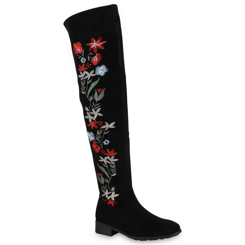 Señoras Overknees de Overknees Señoras botas de luz forradas botas flores zapatos top 819697 3a7f71