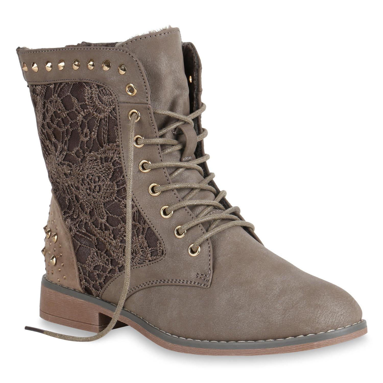 Damen Stiefeletten Worker Boots Spitze Stiefel Schuhe 75319 New Look