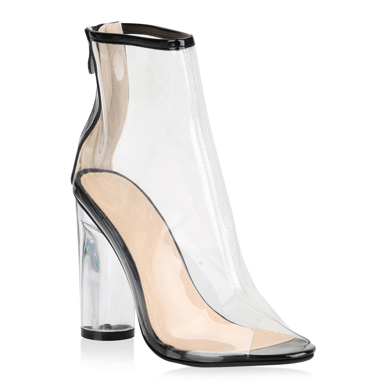 8d9932cc8d1fb Damen Blockabsatz Schuhe Transparente High Heels Stiefeletten 819760 ...