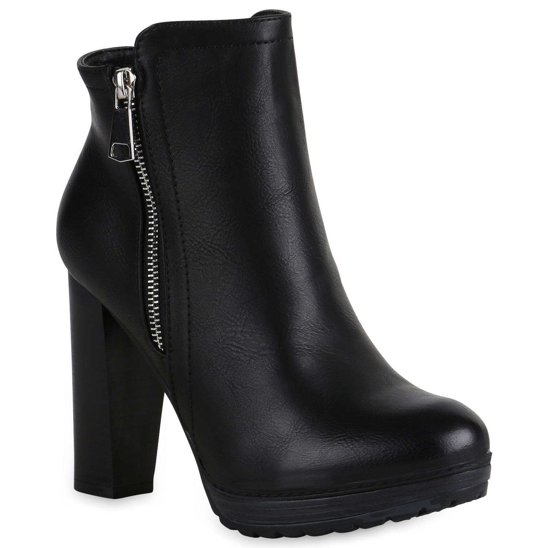 Damen Ankle Boots Plateau Stiefeletten Zipper Holzoptikabsatz 78971 New Look