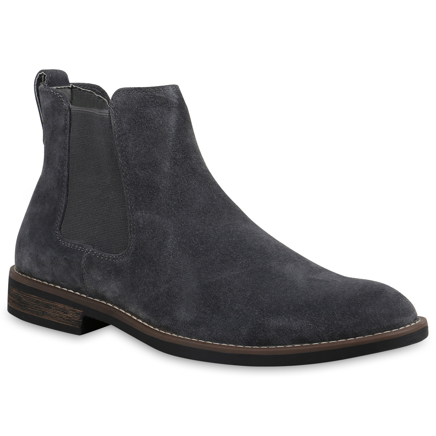 herren chelsea boots echtleder stiefeletten holzoptikabsatz 819954 schuhe ebay. Black Bedroom Furniture Sets. Home Design Ideas