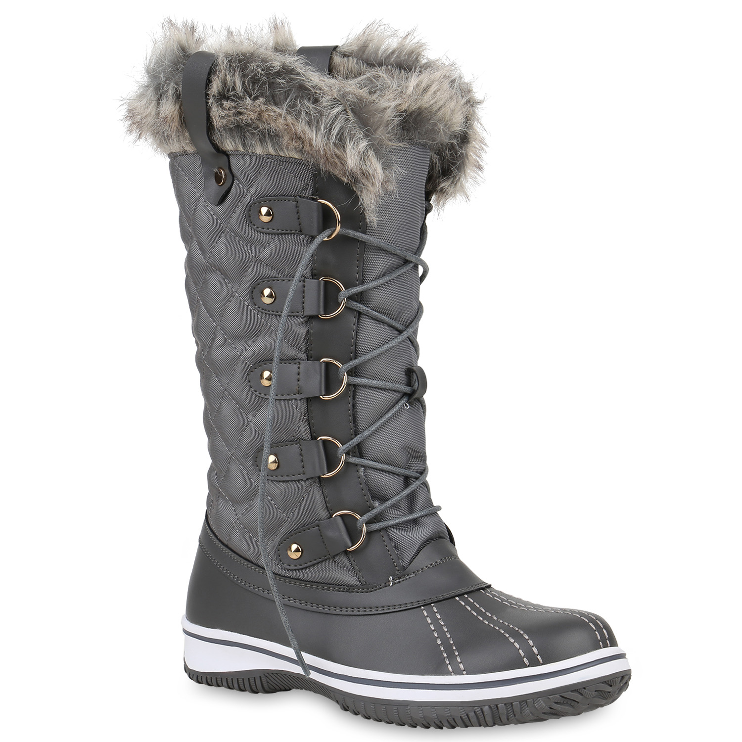 warm gef tterte damen stiefel winterstiefel snow boots. Black Bedroom Furniture Sets. Home Design Ideas