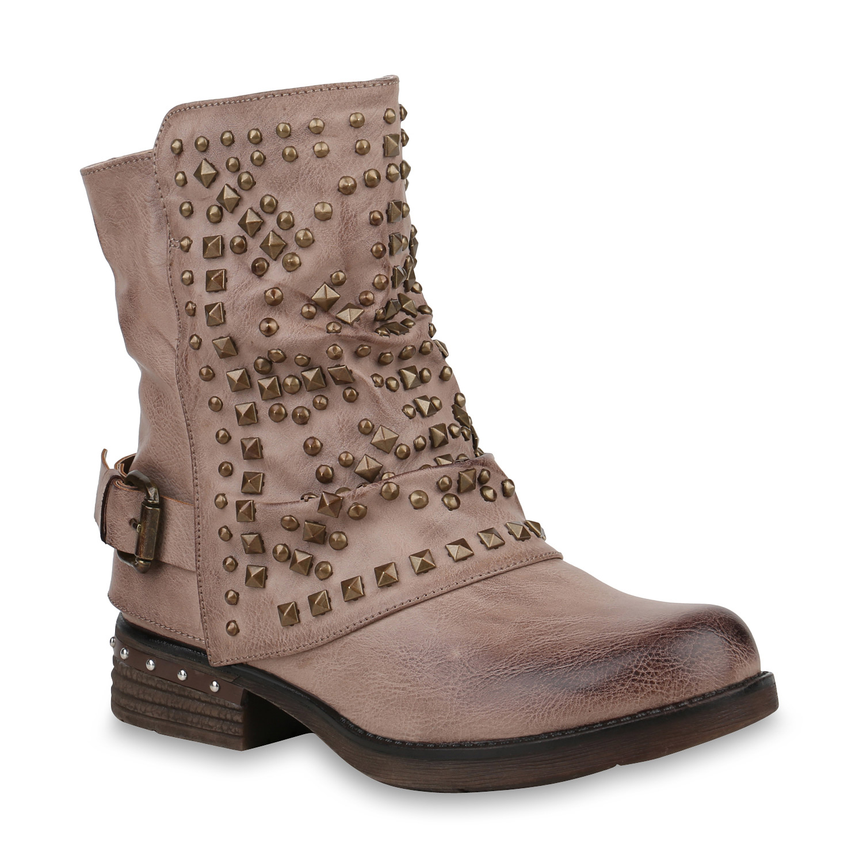 892846 damen biker boots warm gef tterte stiefel nieten. Black Bedroom Furniture Sets. Home Design Ideas