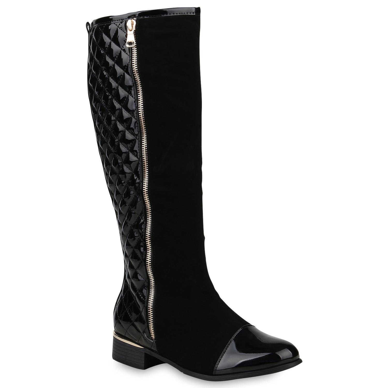 Klassische Damen Stiefel Gef tterte Boots Lack Zipper 820177 Schuhe