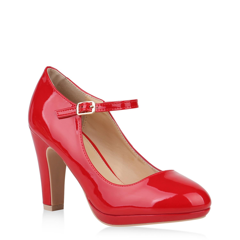 Damen Plateau Pumps Lack Spangenpumps High Heels Blockabsatz 820200 Schuhe