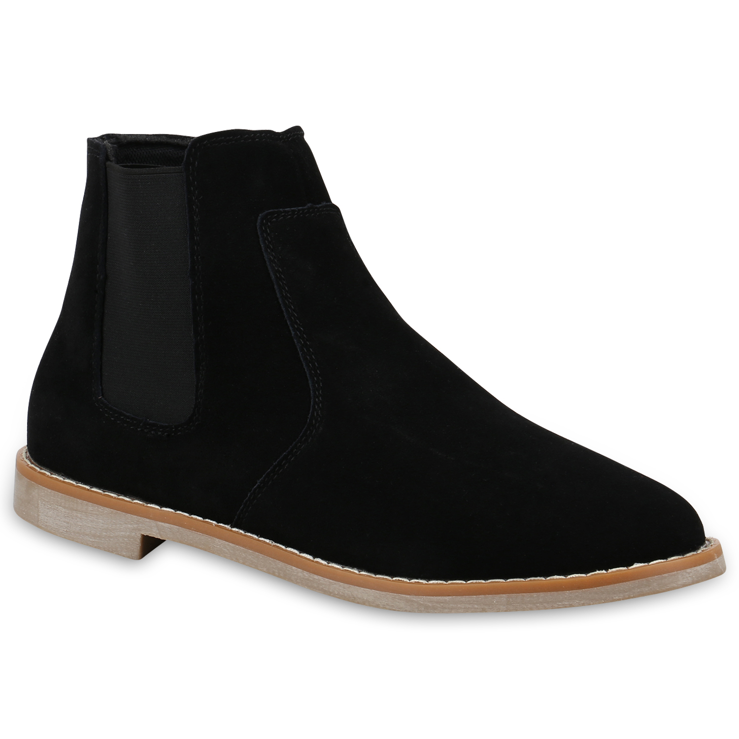 herren chelsea boots leder stiefeletten basic freizeit schuhe 820307 top ebay. Black Bedroom Furniture Sets. Home Design Ideas