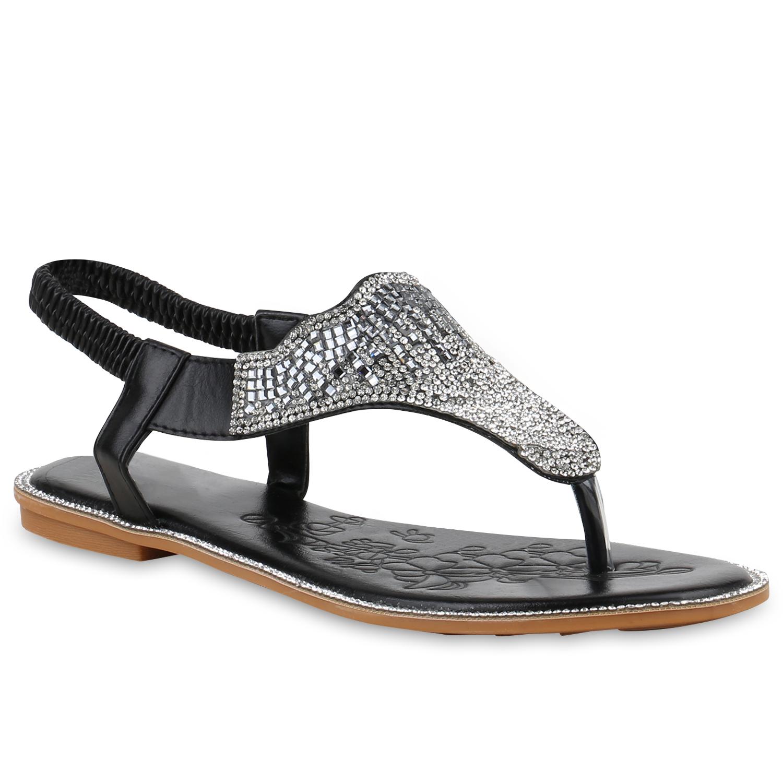 damen sandalen zehentrenner strass metallic flache. Black Bedroom Furniture Sets. Home Design Ideas