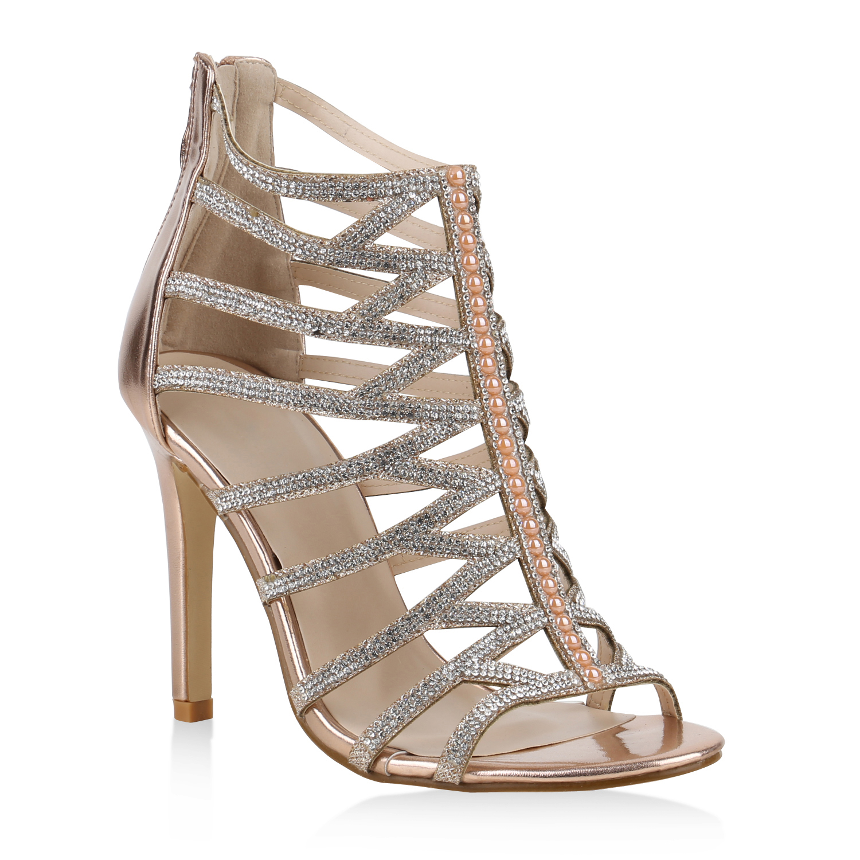 fashion damen schuhe 153673 sandaletten rose gold 36 neuware ebay. Black Bedroom Furniture Sets. Home Design Ideas