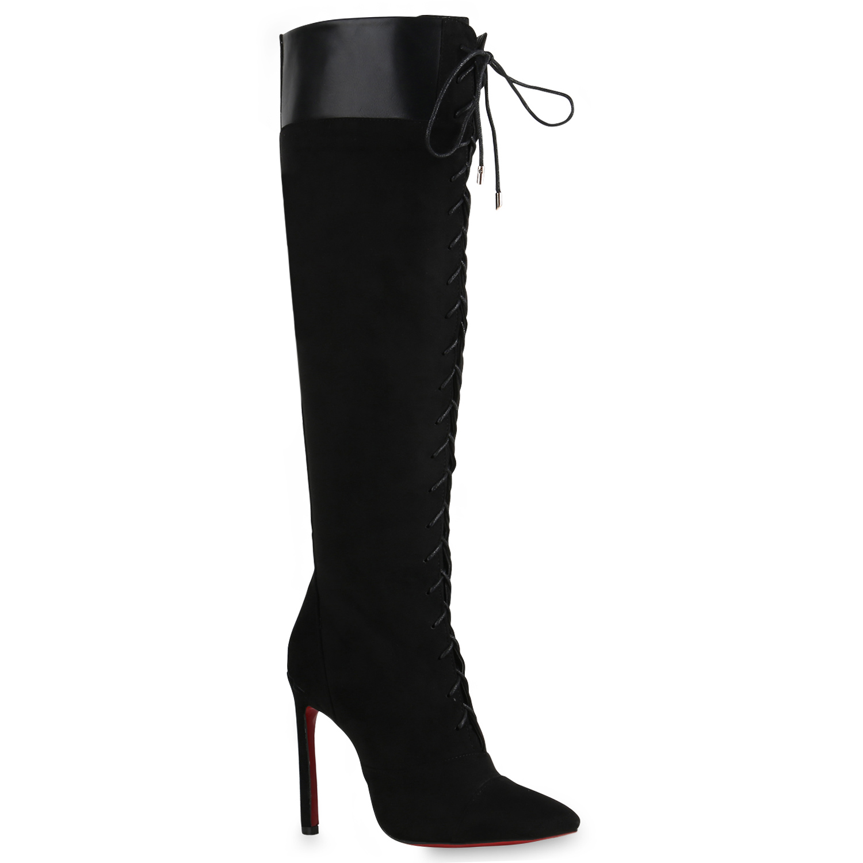 03895b0d8827dd Damen High Heels Stiefel Lack Rote Sohle Boots Schnürer Schuhe 820561 Schuhe