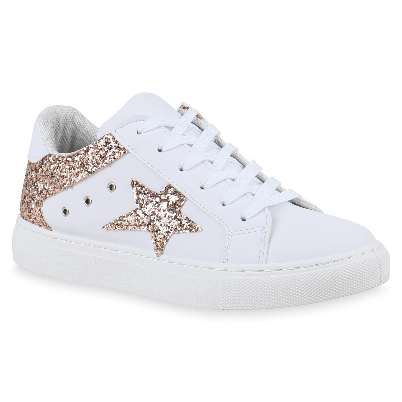 Damen Sneaker Low Glitzer Turnschuhe Leder-Optik Freizeit 820613 Schuhe