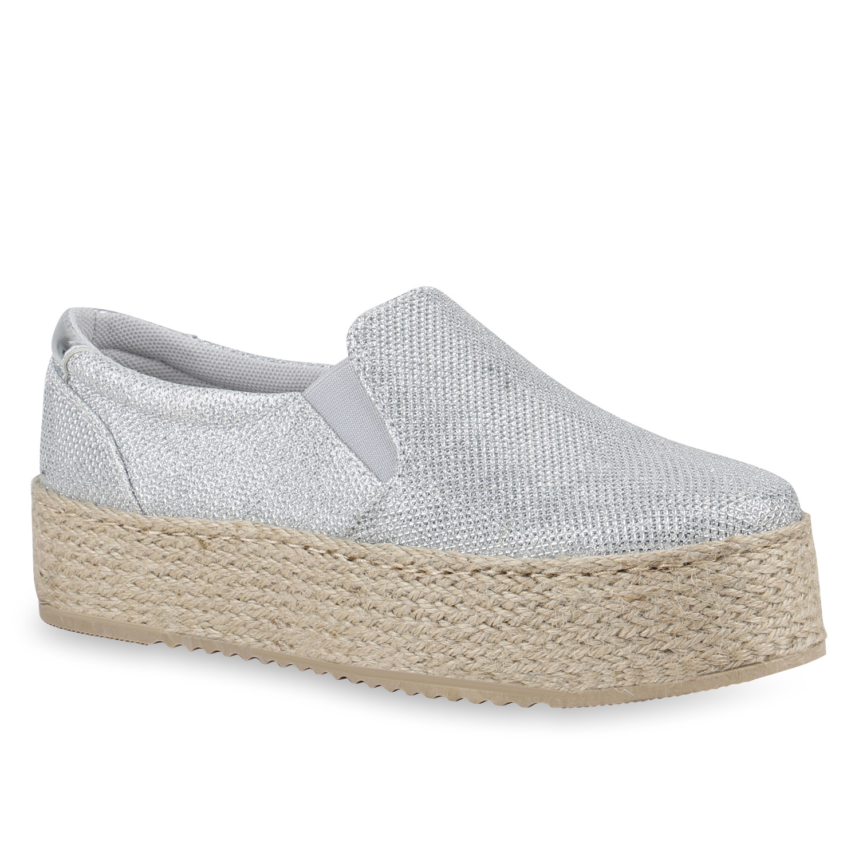 Damen Plateau Sneaker Slip Ons Glitzer Slippers Bast Schuhe 820718 Trendy