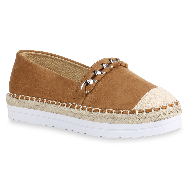Damen Bast Espadrilles Plateau Slippers Ketten Slip Ons 820616 Schuhe