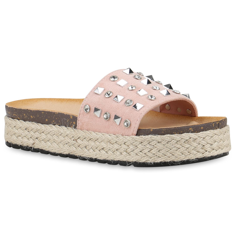 Damen Plateau Sandaletten Nieten Bast Pantoletten Slides Schuhe 820901 New Look