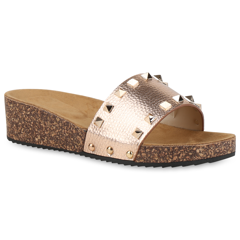 Damen-Sandaletten-Pantoletten-Wedges-Keilabsatz-Kork-Optik-820917-Schuhe