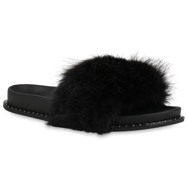 damen sandalen pantoletten kunstfell hausschuhe slides. Black Bedroom Furniture Sets. Home Design Ideas