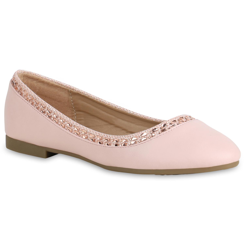 Aktuelle Damen Ballerinas Slipper Flats Slip on Schuhe Strass Pumps 1086 Rosa 41