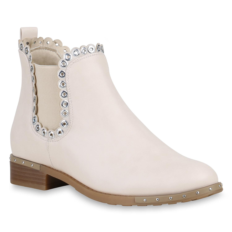 damen stiefeletten chelsea boots sen nieten leder optik booties 821074 schuhe ebay. Black Bedroom Furniture Sets. Home Design Ideas