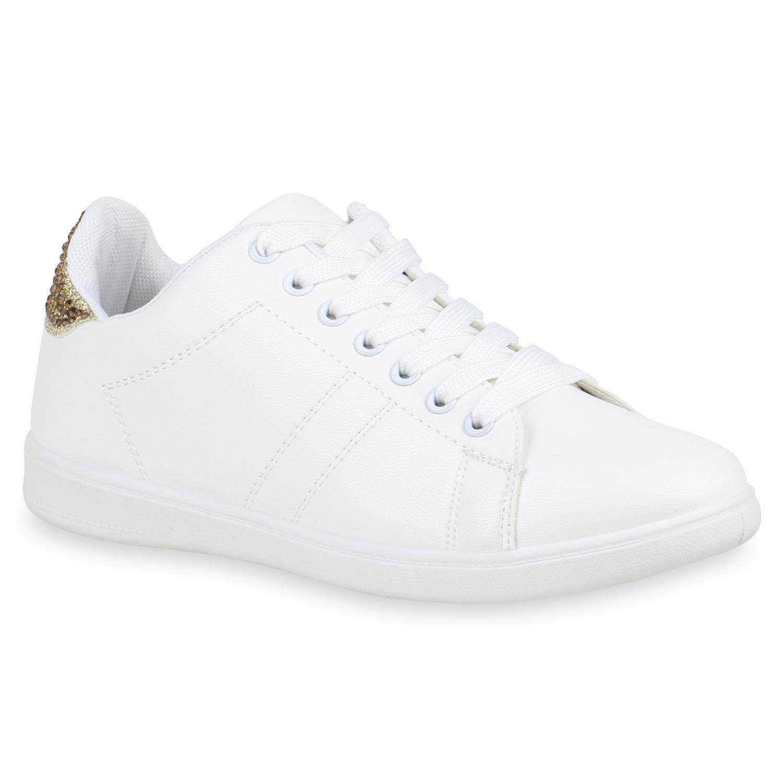 Damen Sneaker Low Glitzer Strass Leder-Optik Freizeit Skater Schuhe 821680 Top