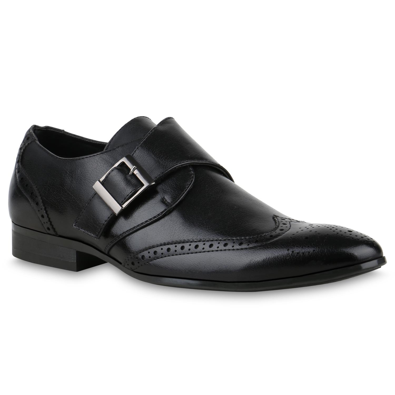 Herren Business Monks Schnallen Leder Optik Klassische Schuhe 821973 Trendy
