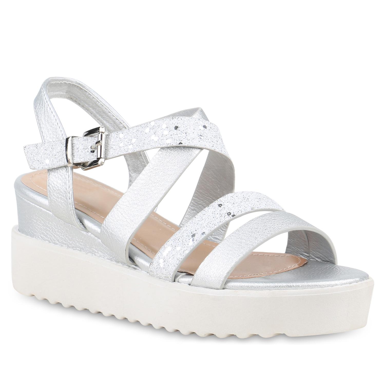 Damen Keilsandaletten Glitzer Sandaletten Metallic Riemchen Schuhe 822155 Trendy