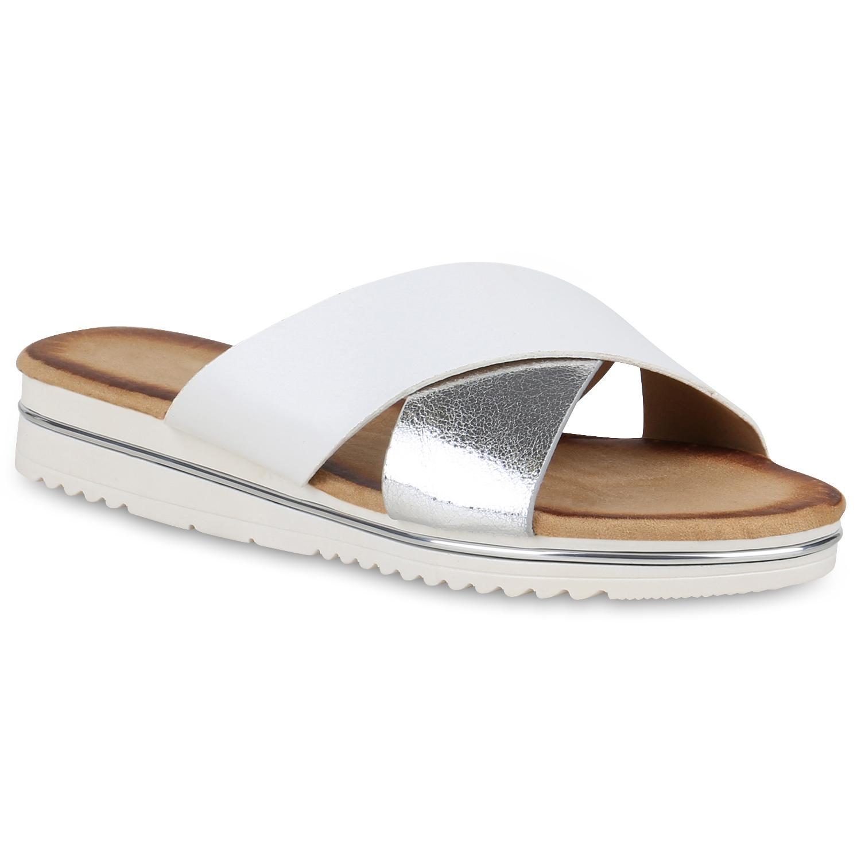 Damen Sandaletten Plateau Pantoletten Metallic Sommer Schuhe 822772 New Look