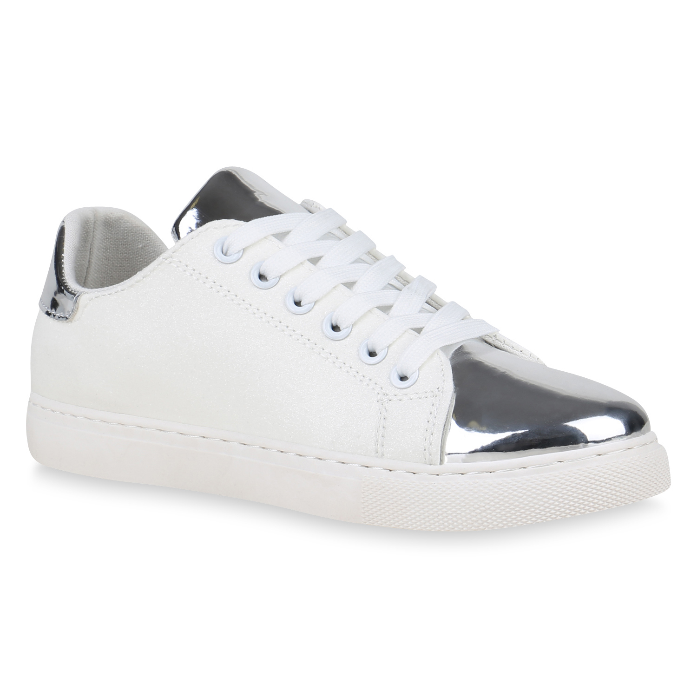 8ed69b282ad4 Damen Sneaker Low Lack Metallic Turnschuhe Schnürer Glitzer 822791 ...