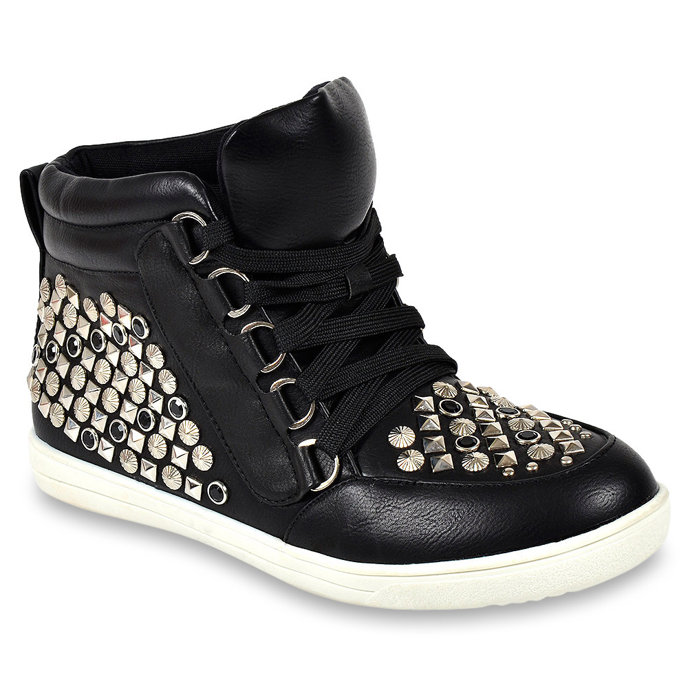 moderne damen sneakers 95782 nieten strass schuhe 36 41 trendy ebay. Black Bedroom Furniture Sets. Home Design Ideas