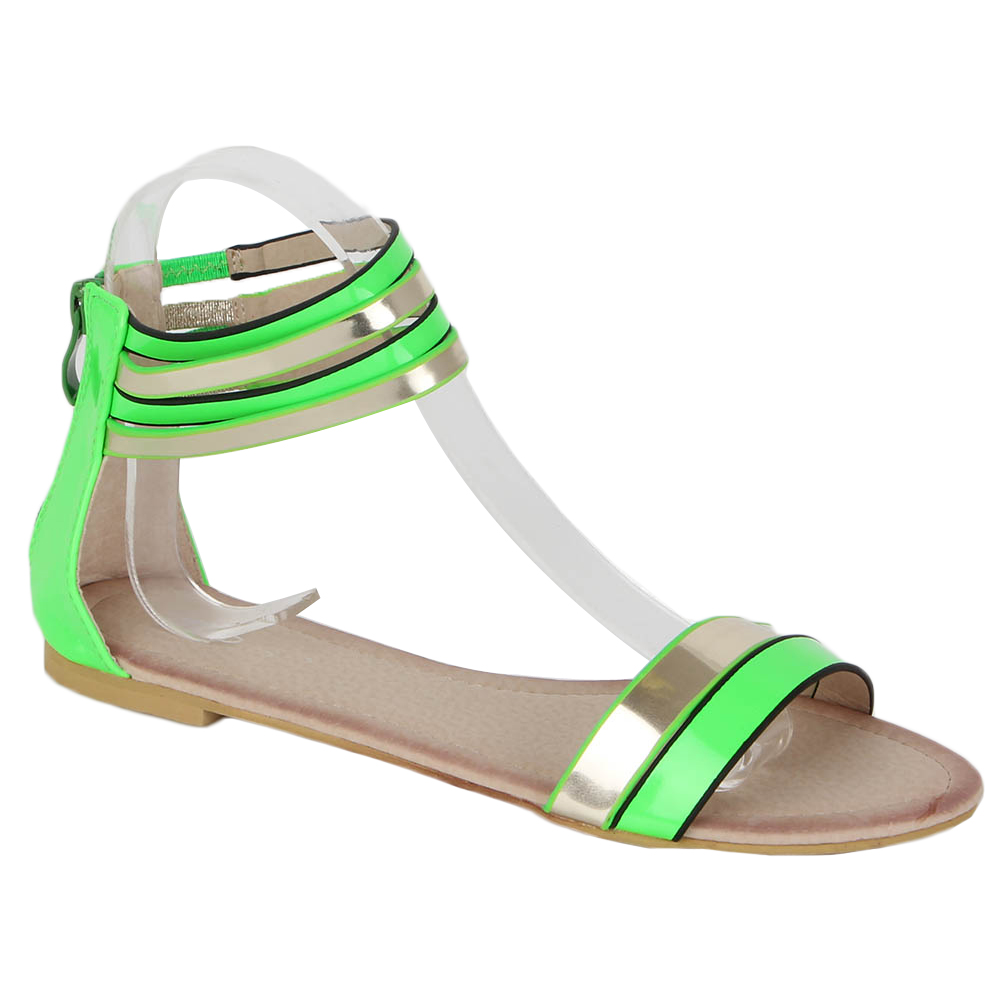 ankle moderne damen sandalen 96989 neon riemchen schuhe schuhe 36 41 ebay. Black Bedroom Furniture Sets. Home Design Ideas