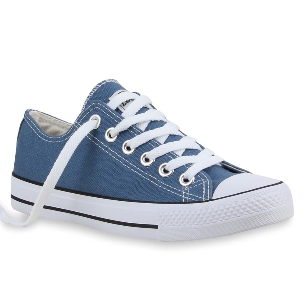 Sportliche Damen Sneakers 94237 Schnürer Flach Schuhe 35-46 Top