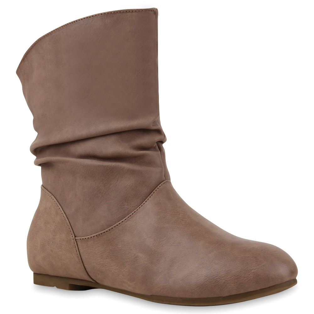 Flache Damen Stiefeletten Schlupfstiefel Retro Look 72780 Schuhe
