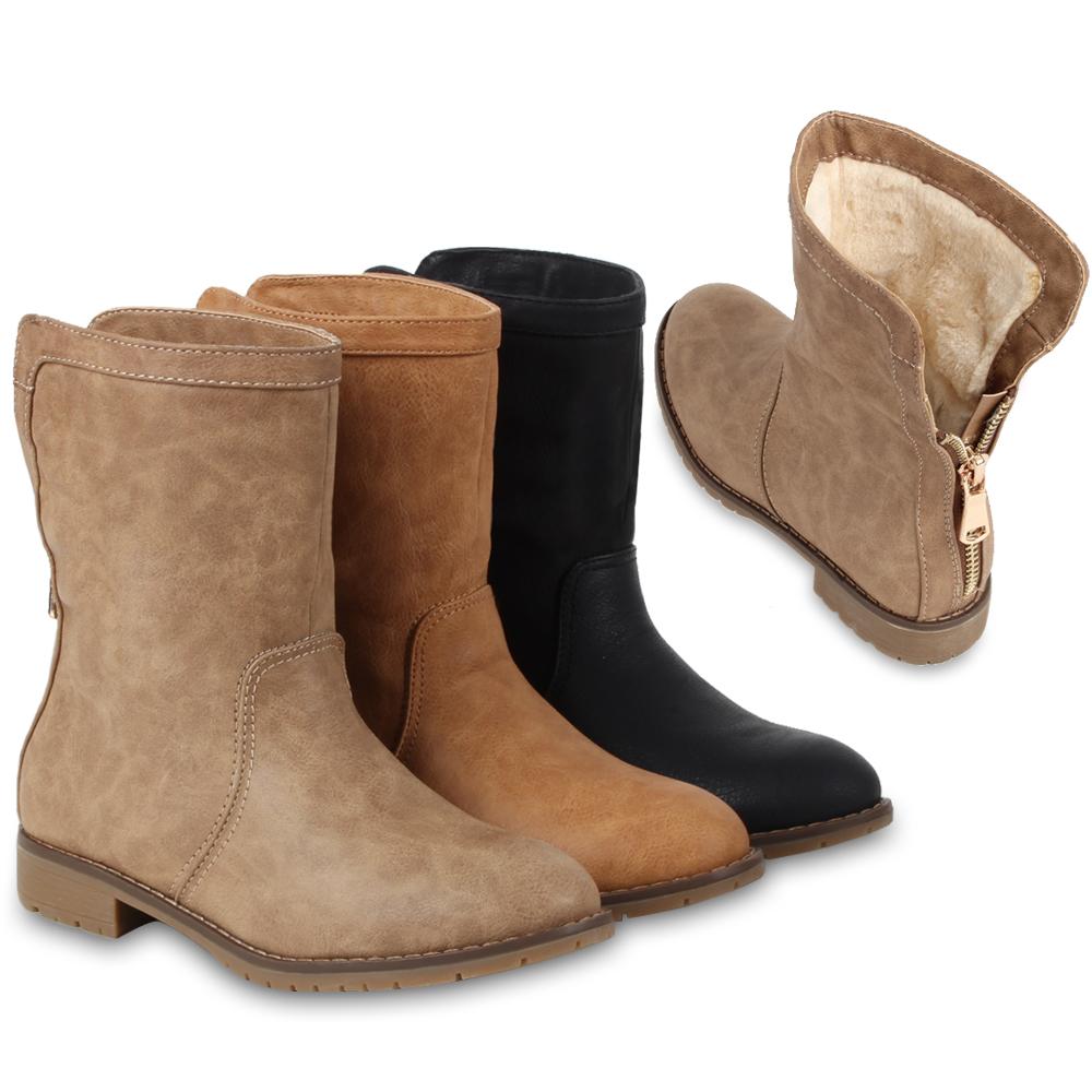 dc894edc026e Details zu Damen Worker Boots Stiefel Derbe Stiefeletten Gefütterte Schuhe  98194 Gr. 36-41