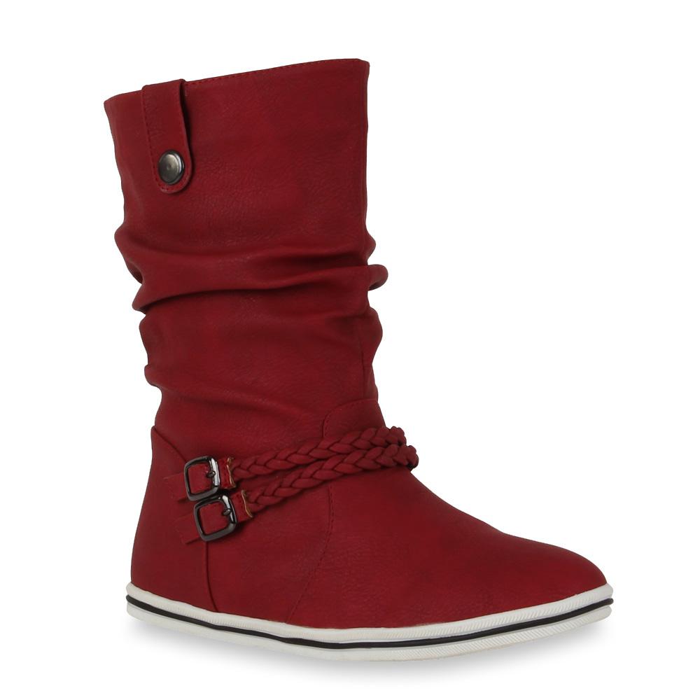 Damen-Stiefeletten-Schlupfstiefel-Flache-Ubergangs-Schuhe-98206-Gr-36-42-Schuhe
