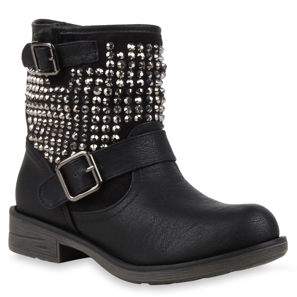 coole damen biker boots nieten stiefeletten stiefel schuhe. Black Bedroom Furniture Sets. Home Design Ideas