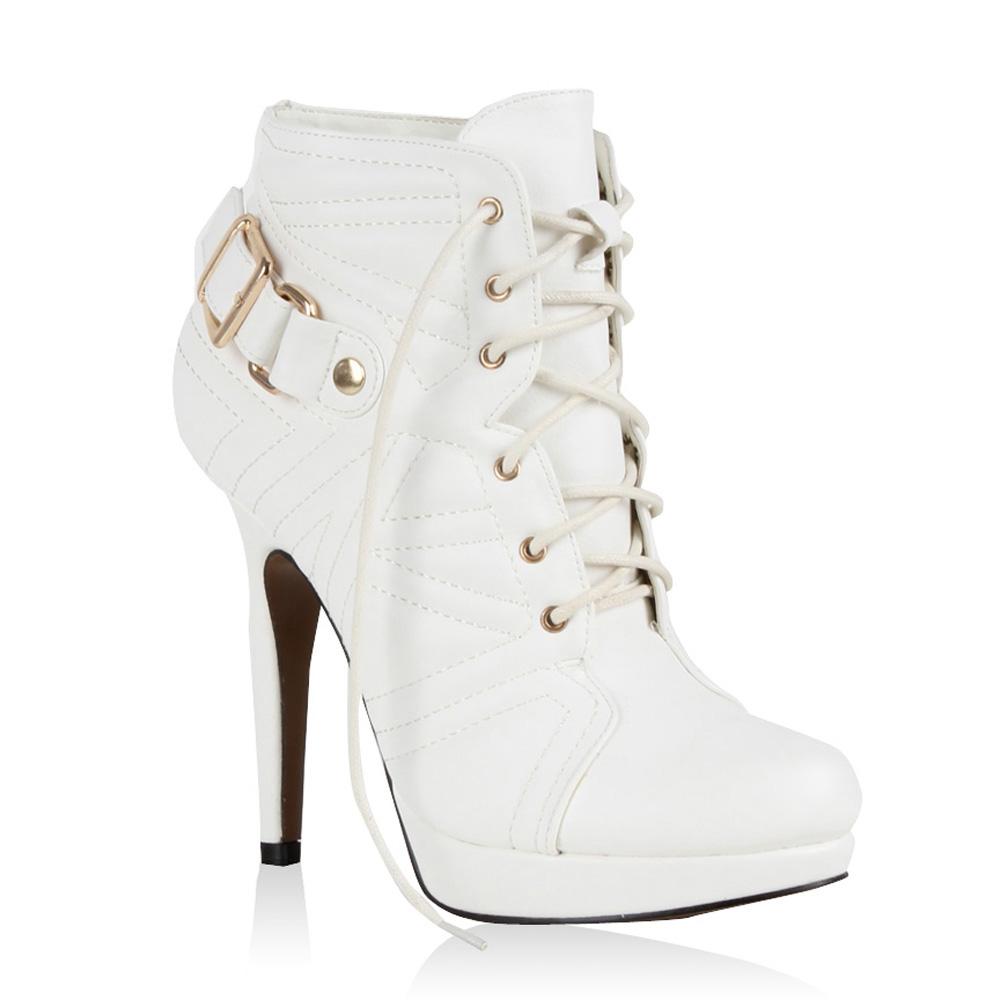 b05b150f544ed Details zu Sexy Damen Stiefeletten High Heels Ankle Boots Schuhe Geschnürt  98255 Gr. 36-41
