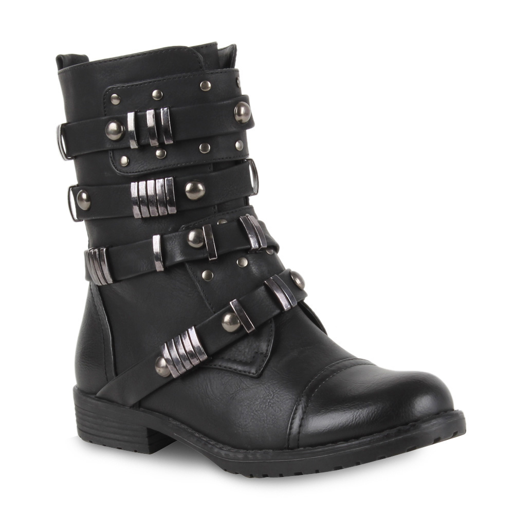coole damen biker boots schnallen stiefeletten lederoptik. Black Bedroom Furniture Sets. Home Design Ideas