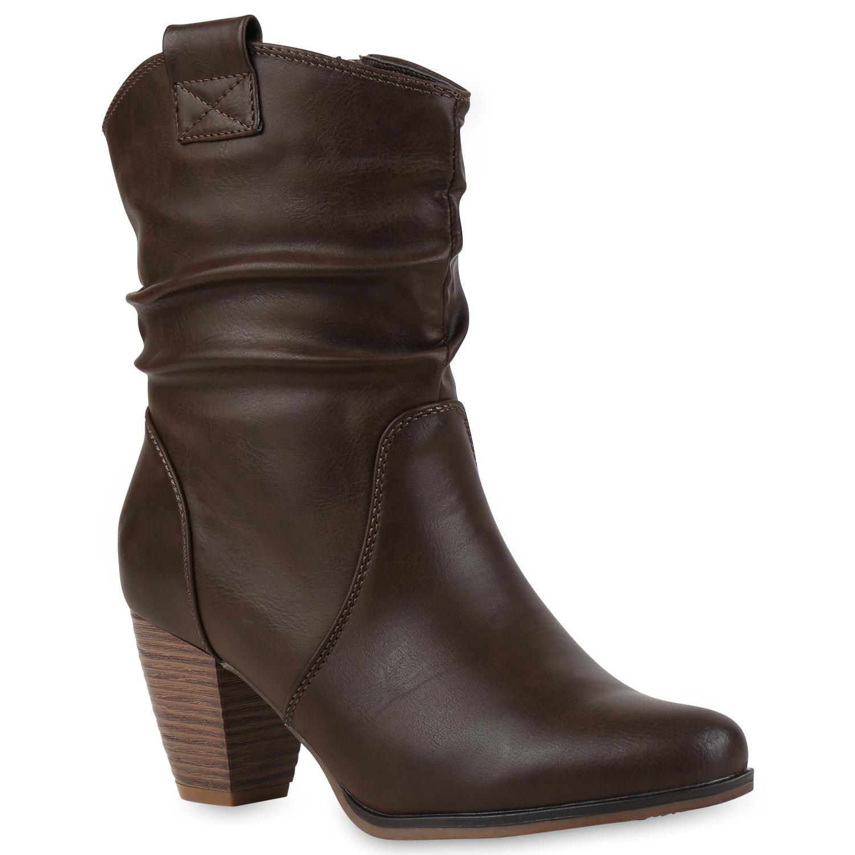 Damen-Cowboy-Stiefel-Western-Stiefeletten-Lederoptik-98359-Gr-
