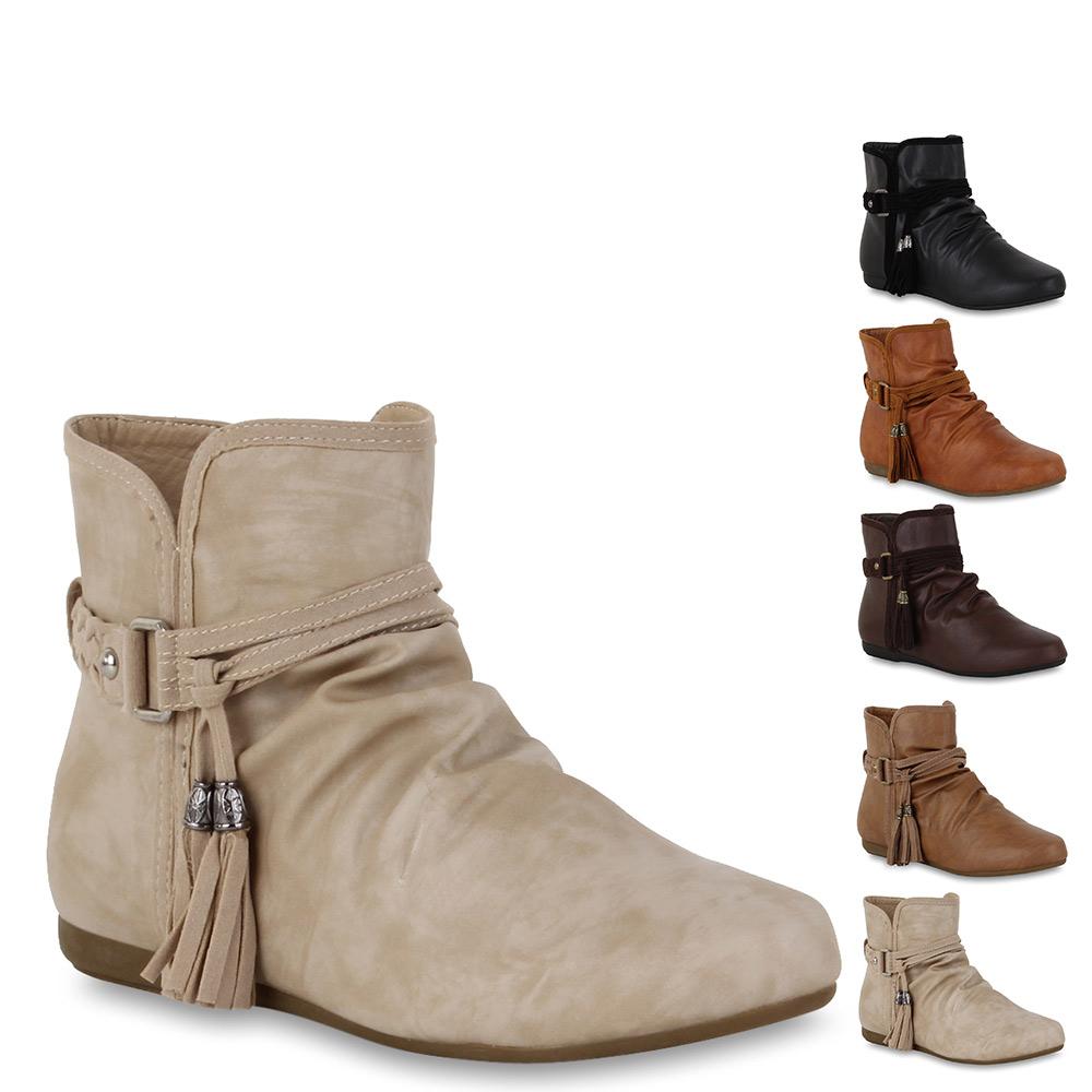 30c342306ea154 Das Bild wird geladen Flache-Damen-Stiefeletten -Ankle-Boots-Ethno-Style-Schuhe-
