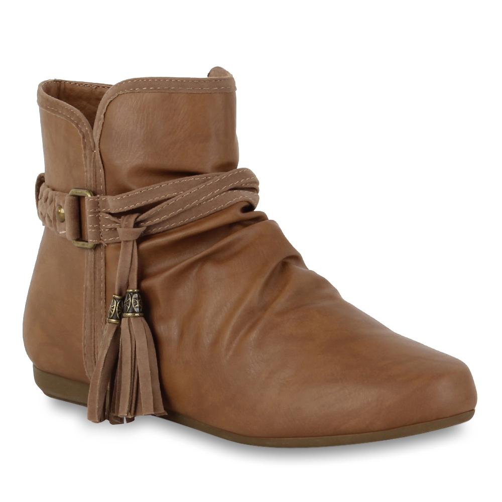 flache damen stiefeletten ankle boots ethno style schuhe 98384 gr 36 41 ebay. Black Bedroom Furniture Sets. Home Design Ideas