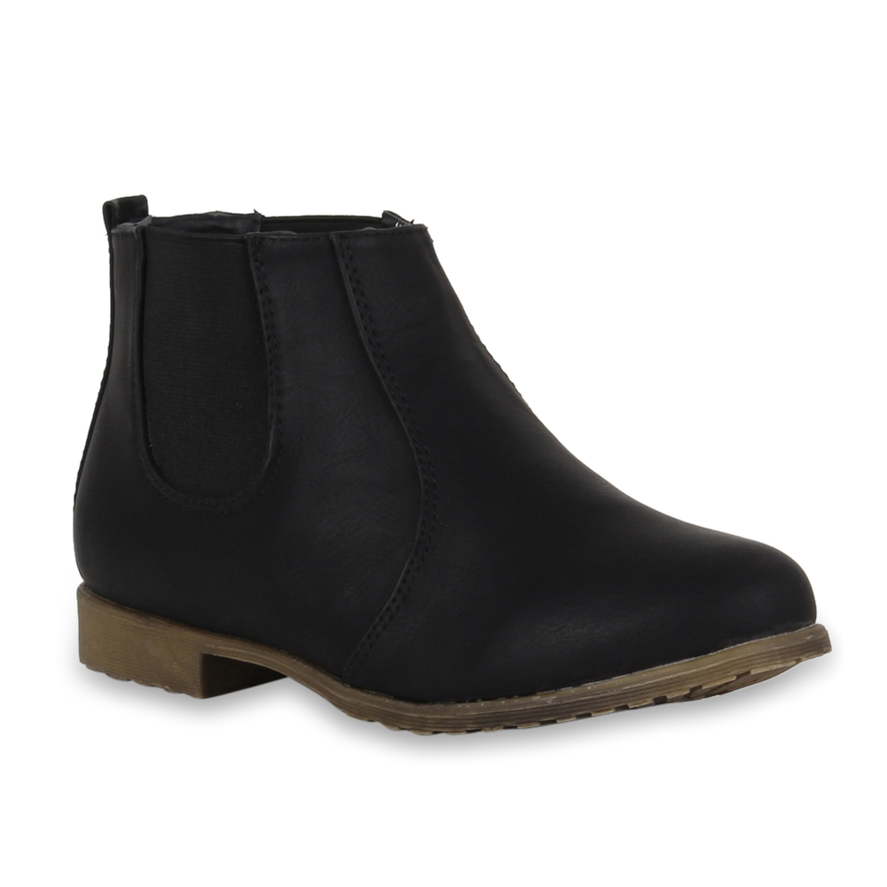 flache damen stiefeletten chelsea boots lederoptik schuhe. Black Bedroom Furniture Sets. Home Design Ideas