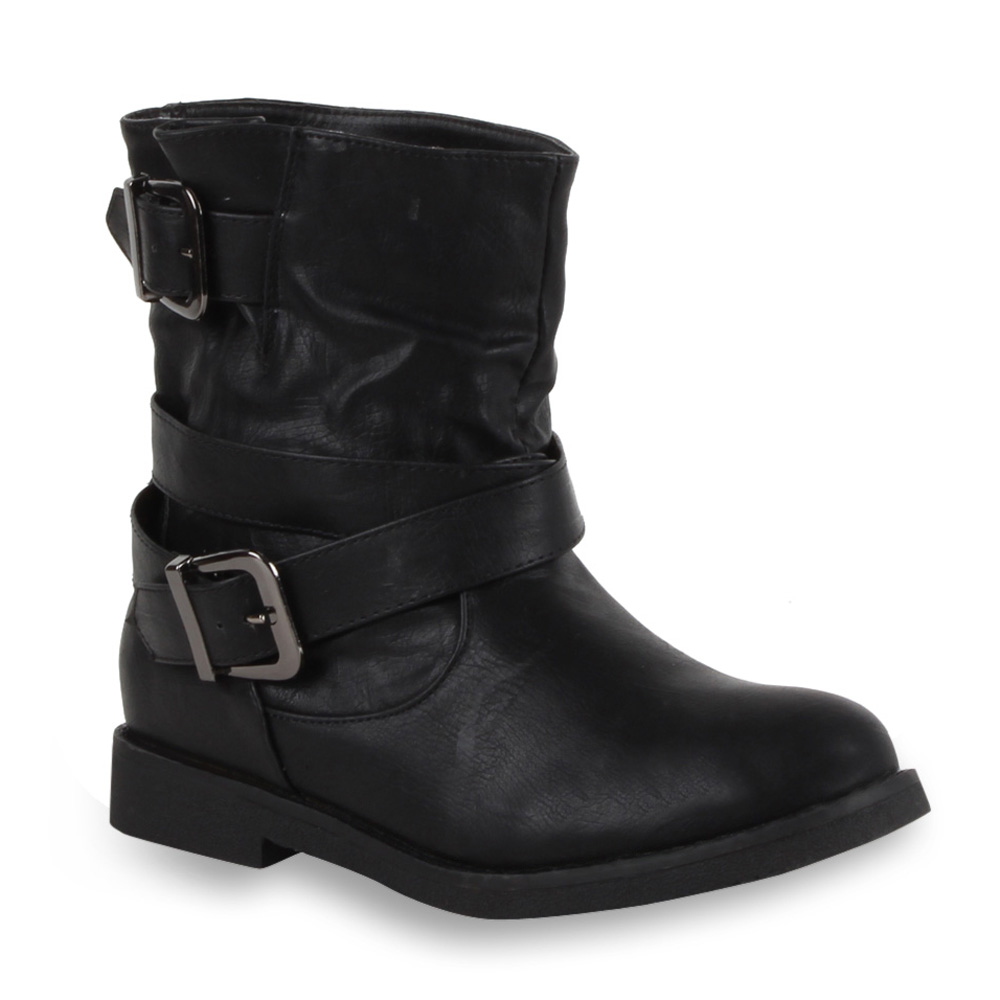 coole damen stiefeletten biker boots lederoptik schuhe. Black Bedroom Furniture Sets. Home Design Ideas