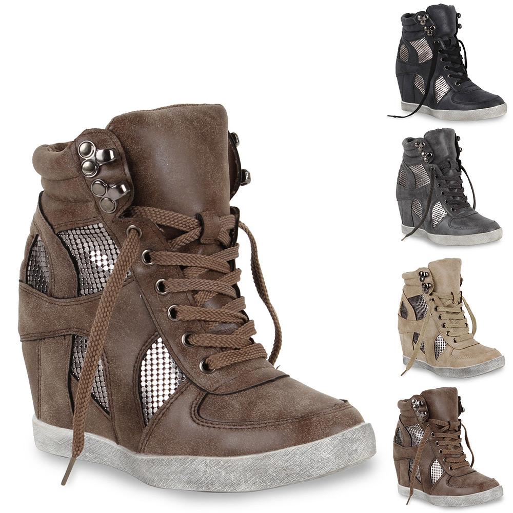 a47561db2e7159 Das Bild wird geladen Coole-Damen-Sneaker -Wedges-Keilabsatz-Sportschuhe-98490-Gr-