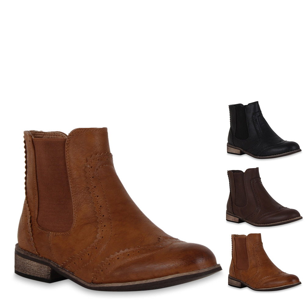 klassische damen stiefeletten chelsea boots lederoptik. Black Bedroom Furniture Sets. Home Design Ideas
