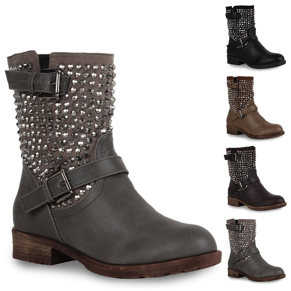 damen nieten biker boots stiefeletten stiefel schuhe 98589. Black Bedroom Furniture Sets. Home Design Ideas