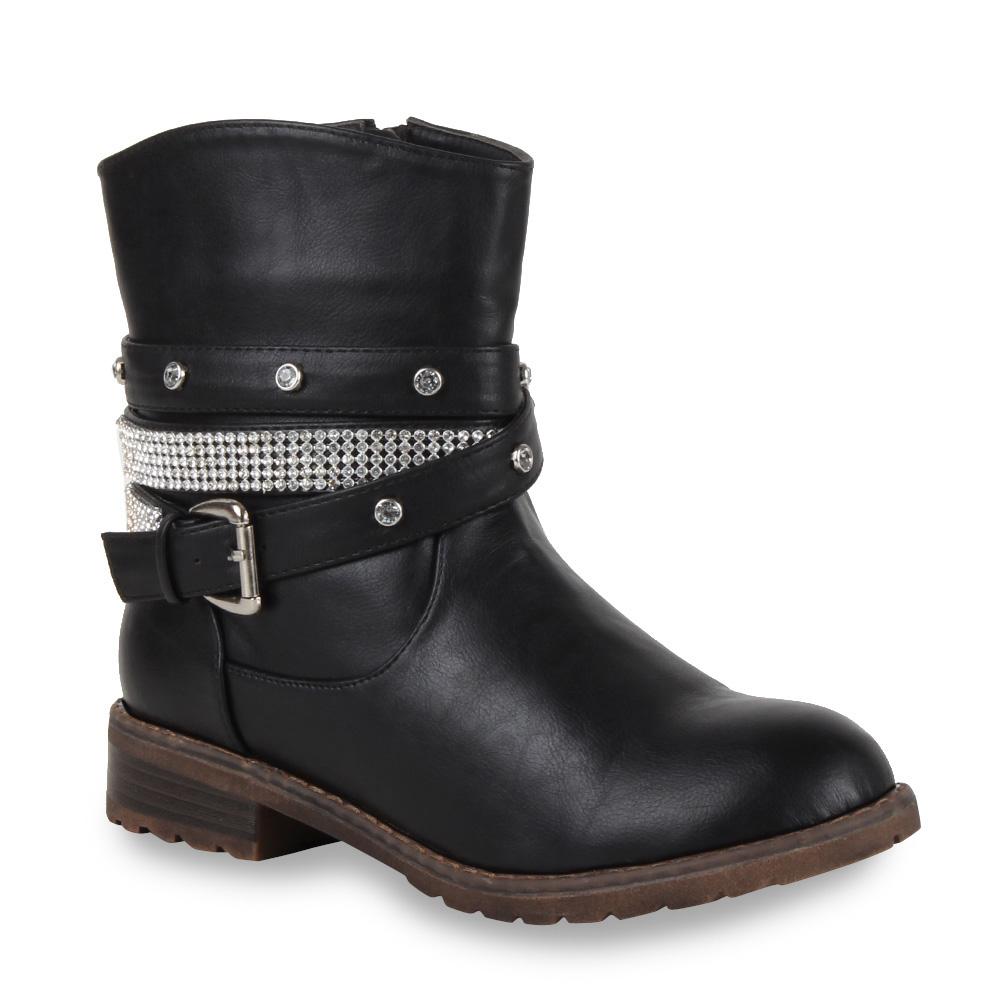ausgefallene damen stiefeletten strass biker boots stiefel. Black Bedroom Furniture Sets. Home Design Ideas