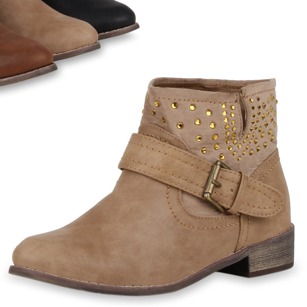 derbe damen biker boots nieten stiefeletten flache ankle boots 98834 gr 36 41 ebay. Black Bedroom Furniture Sets. Home Design Ideas