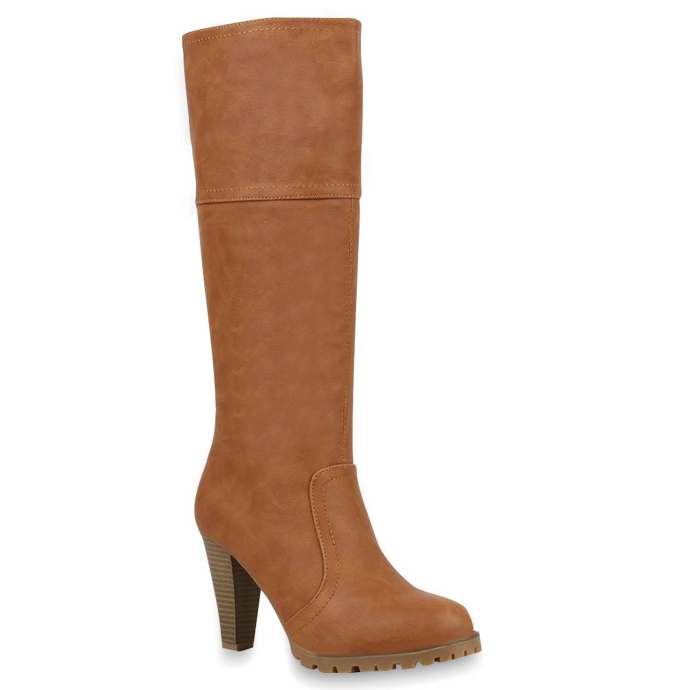 Klassische-Damen-Stiefel-Hochschaft-High-Heels-70058-Gr-36-41-Schuhe