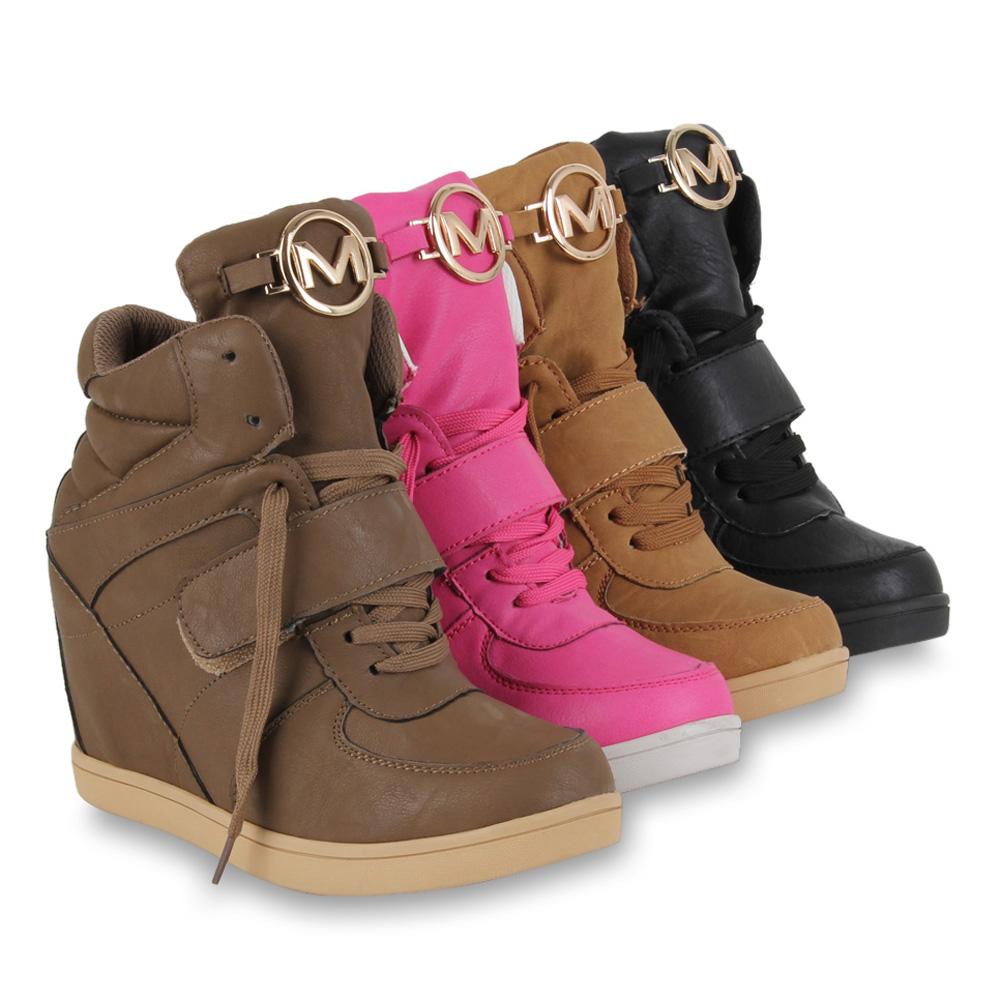 Damen Sneaker Wedges Sportliche Keilabsatz Stiefeletten Schuhe 70086 Gr. 36 41 | eBay